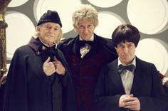 """via Mark Gatiss on Twitter: David Bradley as William Hartnell, Gatiss as Jon Pertwee, and Reece Shearsmith as Patrick Troughton, from """"An Adventure in Space and Time"""" 