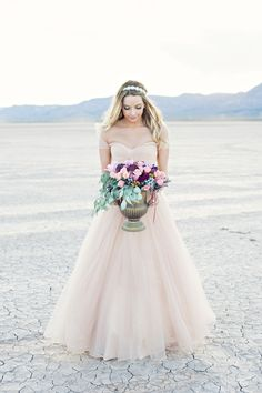 Dry Lake Bed Bridal session | Kristen Joy Photography | see more on: http://burnettsboards.com/2015/01/dry-lake-bed-bridal-inspiration-shoot/