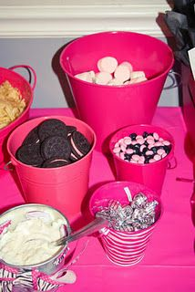 Hot Pink & Zebra - Food (Chips and Dip, Strawberry Marshmallows, White Marshmallows with Chocolate Drizzled, Berry Burst Oreos, Black and White M&Ms and Hugs and Kiss Hershey Kisses)