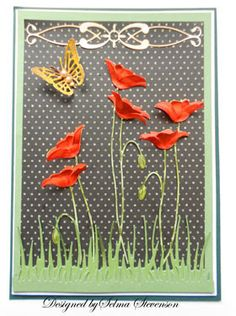 handmade greeting card from Selma's Stamping Corner and Floral Designs . die cut red poppies given dimension with a shaped top layer ,,, Memory Box Cards, Memory Box Dies, Butterfly Cards, Flower Cards, Poppy Cards, Embossed Cards, Beautiful Handmade Cards, Copics, Creative Cards
