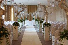 Crystal Tree Wedding Aisle The Grove Wedding Aisles, Oak Tree Wedding, Wedding Hire, Star Wedding, Wedding Reception Decorations, Wedding Flowers, Wedding Bells, Dream Wedding, Crystal Tree
