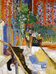 "chasingtailfeathers:    Pierre Bonnard  |  Interior with Flowers, 1919  ""I am not sure whether the term ""vocation"" exactly applies to me. What attracted me then was less art itself than the artist's life, with all that I thought in terms of free expression, of imagination and liberty to live as one pleased … I wanted at all costs, to escape from a monotonous existence."" –Pierre Bonnard"