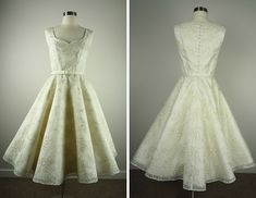 Silver Sixpence - Vintage style tea length wedding dress with embroidered silk organza overlay