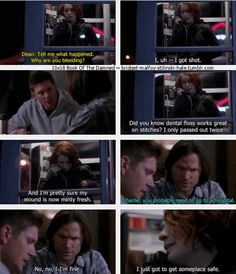 "10x18 Book of the Damned [gifset] - ""No, no, I'm fine. I just got to get someplace safe."" - Charlie Bradbury, Sam & Dean Winchester; Supernatural"