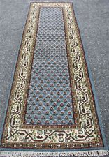"""2'4"""" X 8' BLUE PLUSH HAND KNOTTED WOOL PERSIAN SARABAND ORIENTAL RUG RUNNER"""
