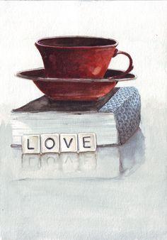 Original watercolor painting red black tea cup blue book