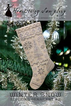 Winter Snow Stocking Ornament : Cross Stitch Pattern by Heartstring Samplery Cross Stitch Christmas Stockings, Cross Stitch Stocking, Just Cross Stitch, Christmas Cross, Xmas Stockings, Cross Stitch Designs, Cross Stitch Patterns, Stitch Magazine, Winter Snow