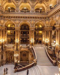 The Paris Opera House. Baroque Architecture, Beautiful Architecture, Beautiful Landscapes, Beautiful Castles, Beautiful Places, House Hall Design, Paris Opera House, Mansion Interior, Paris Ville