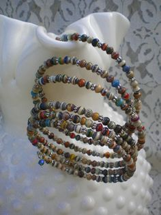 Paper Beads Memory Wire Bracelet