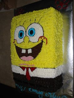 Spongebob Spongebob cake using pattern transfer and star tip Spongebob Birthday Party, 3rd Birthday Cakes, Birthday Ideas, Sponge Bob Cupcakes, Sponge Bob Cake, Bolo Panda, Pirate Ship Cakes, Foto Pastel, Spongebob Spongebob