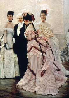 Bustle evening dress: Same silhouette as daytime gowns, but had increased trimming. Sleeves on these ball gowns were short, covering just the shoulders. By the close of the 1880s, some evening dresses had broad or narrow shoulder straps in place of sleeves.