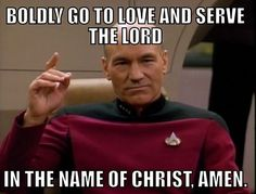 Photo: Deacon Picard gives the dismissal.  (Shared from Anglican Memes and Humour)