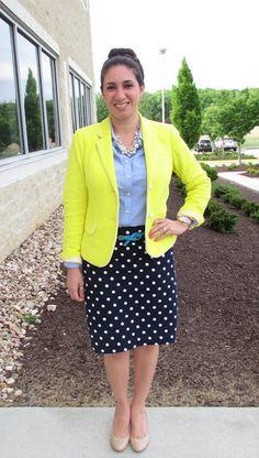 Yellow Blazer, oxford shirt, polka dot pencil skirt