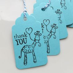 Giraffe Tags Thank You - Set of 8 - Custom Colors Available - Giraffe Birthday Favor Tags Baby Shower Tags Giraffe Party Decor