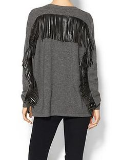 One Grey Day Taos Fringe Sweater | Piperlime