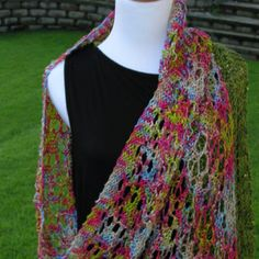Silk knitted shawl. Edged in green silk with sequins.   Logicallyliz1229.etsy.com