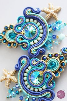 """Soutache earrings """"the mirror of the mermaid"""" Entirely hand-sewn by Reje, Italian jewelry designer."""