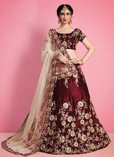 Aasvaa Fashion Velvet Art Silk Lehenga Choli Set in Navy Blue Lehenga Choli Designs, Lehenga Choli Online, Blue Lehenga, Lehenga Blouse, Silk Lehenga, Banarsi Saree, Indian Lehenga, Pakistani Dresses, Indian Dresses