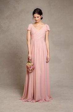 Beautiful Pink Short Sleeved Long Pink Chiffon Bridesmaid Dress_2