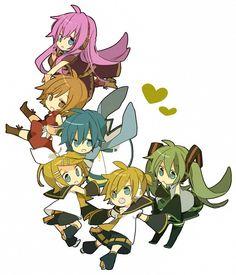 Chibi!Vocaloid: Luka, MEIKO, KAITO, Rin, Len, and Miku