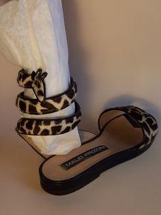 1980s Maud Frizon Shoes Giraffe Motif with Wrap Around Strap