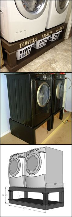 Create Storage Space by Building This Washer And Dryer Pedestal  http://diyprojects.ideas2live4.com/2014/10/11/diy-washing-machine-and-dryer-pedestal/  A pedestal or stand for your dryer or washer creates storage space, and brings your machines up to a more ergonomic height.  And it's a project that won't break the bank!