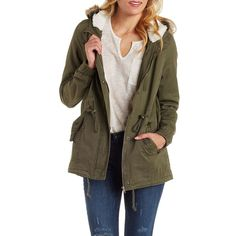Charlotte Russe Olive Anorak with Detachable Faux Fur by Charlotte... ($43) ❤ liked on Polyvore featuring outerwear, jackets, olive, button up jacket, army green anorak, fake fur jacket, charlotte russe jackets and brown anorak jacket