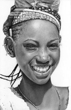 """Mali2"" - Séverine Piret {contemporary figurative realism art beautiful black woman in african headdress and cornrows art smiling female face b+w pencil portrait drawing #loveart} <3 Happy !!"