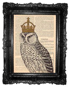 King  owl ORIGINAL ARTWORK Mixed Media  on  antique by ArtElem#pottiteam