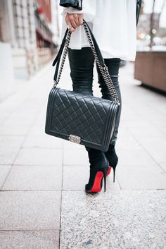 Louboutin, Chanel boy bag, ankle boots