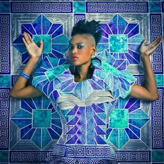 Omar Victor Diop's Parisian Exhibition Okayafrica. blue geometric print, photography