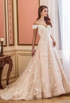 mon cheri fall 2017 bridal off the shoulder sweetheart neckline full embellishment romantic princess pink a line wedding dress royal train (230) av -- Mon Cheri Fall 2017 Wedding Dresses #luxurydress