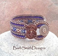 Blue Copper Cobalt Chain Beaded Leather Wrap Cuff Bracelet - The One in Knots and Chains - Custom size it!