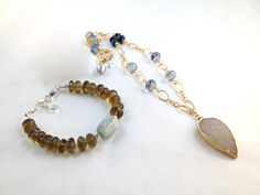 Aquamarine, cognac quartz. druzy agate, topaz. gold and London blue quartz by Stacey Johnson Jewelry Design | necklace