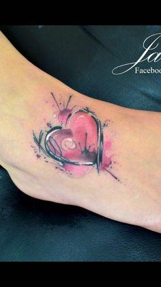 Pink & Black Watercolor Heart Tattoo By Javi Wolf Wrist Tattoos, Mini Tattoos, Trendy Tattoos, Unique Tattoos, Beautiful Tattoos, Body Art Tattoos, Small Tattoos, Tatoos, Aquarell Tattoo Herz