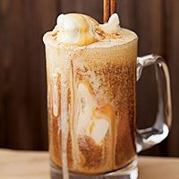 Ice cream meets apple cider and caramel in these Apple Cider Floats via Rachel Ray