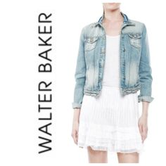 Walter Baker jean jacket Walter Baker destructed denim with a worn in look jean jacket, size small.  Distressed look with scratches, variation in color and fraying, so cute!  Side pockets and two snap pockets.  Soft fabric, 100% cotton.  New with tag attached. Note that the jacket looks lighter in the model pic, the actual color is shown in the last 3 pics. Walter Baker Jackets & Coats Jean Jackets