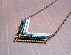 Leading to the Sea - Copper Chevron Necklace, Arrow Necklace $24