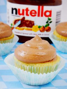 Nutella Cloud Frosting Delicately flavored light and fluffy Nutella frosting.  Great on vanilla or chocolate cupcakes.  Drizzle extra Nutella on top for even more fun!