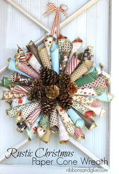 Rustic Christmas Paper Cone Wreath