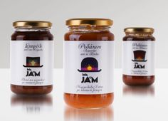 "Homemade Jams ""Mr Jam"" with the addition of partially refined brown sugar Homem. Homemade Jams ""Mr Jam"" with the addition of partially refined brown sugar Homemade Jams ""Mr Jam Packaging, Food Packaging Design, Bottle Packaging, Packaging Design Inspiration, Brand Packaging, Jam Jar Labels, Jam Label, Brown Sugar Homemade, Graphic Design Blog"