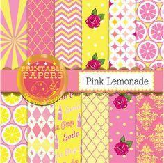 Pink lemonade digital paper, pink and yellow digital paper Vintage soda 12 papers