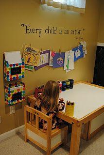 Kids craft room organization