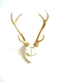 Faux Antlers Plaque Wall Hanging Rustic Modern Wall Mount Wall Decor in white with gold antlers to hang coats or jackets from
