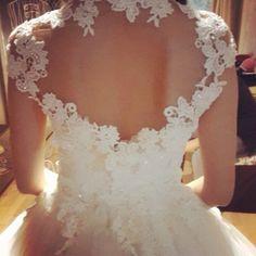 lovely back on my wedding dress #lace #back #white #weddingdress #weddingday #hilowdress