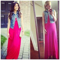 Vintage denim vest + maxi dress // #pinneditthriftedit