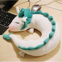 Haku Neck Pillow for Spirited away fans! This pillow is not only a cute Haku plush, it is also best friend during travelling. Beside the cuteness of Haku, Spirited Away Haku, Cute Stuffed Animals, Cute Plush, Neck Pillow, Cute Dolls, Plushies, Softies, Doll Toys, Sewing Projects