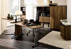 Elegant Long Dark Wooden Home Office Interior Furniture Design Set With Cabinets With Swivel Chair And Rug Under The Vanity As Well White Curtain Glass Window Excellent Modern Office Interior Furniture for Comfortable Working Area Interior Design