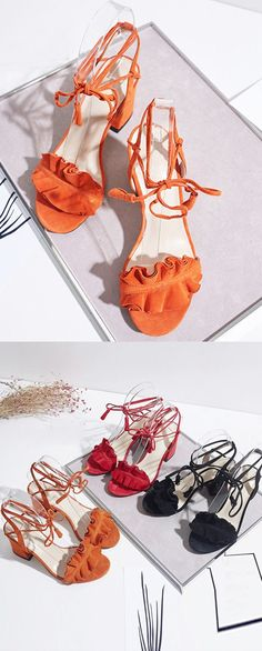 orange sandals, fashion sandals, lace up sandals, chunky heels
