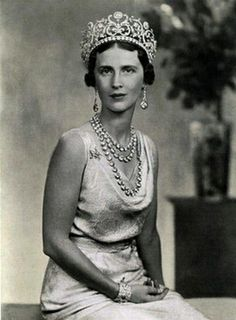 Princess Olga of Greece and Denmark, wife of Prince Paul of Yugoslavia, wearing Princess Abamalek Lazarev's Diamond Tiara, Georgia/Yugoslavia (1907; made by Boucheron; diamonds, yellow diamonds).